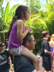 Grace looking for dinosaurs on Uncle Ryan's shoulders.