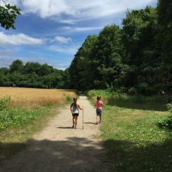 Walking the trail.