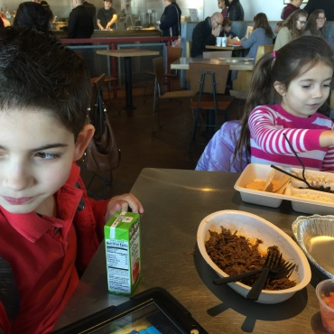 Lunch date at their favorite, Chipotle!