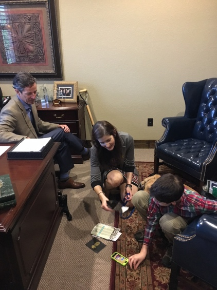Senator Hancock showed Ryan thank you cards that he received from students in the FAA (Future Farmers of America).