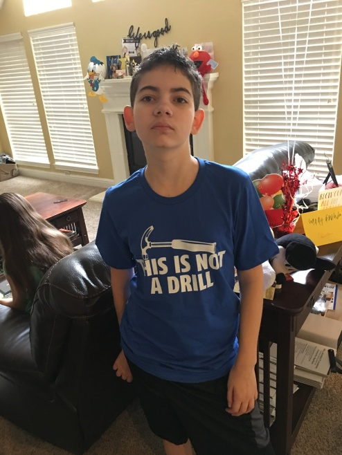 Clever shirt from Mom and Dad.