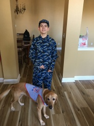 Ryan the NAVY SEAL with his partner Freckles for Halloween.
