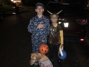 Ryan the NAVY SEAL with his American dog, Freckles, and Grace, a Sandwing Dragon!
