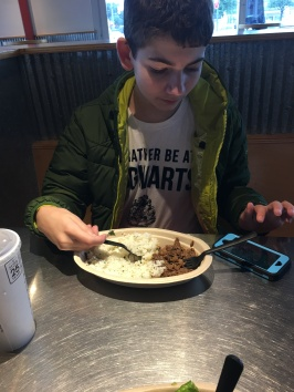 Eating at Chipotle a lot during the work on the house floors.